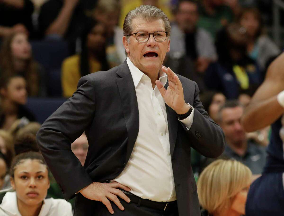 UConn coach Geno Auriemma gestures to his team during the first half of the Final Four NCAA college basketball semifinal game against Notre Dame on Friday, April 5, 2019, in Tampa, Fla.
