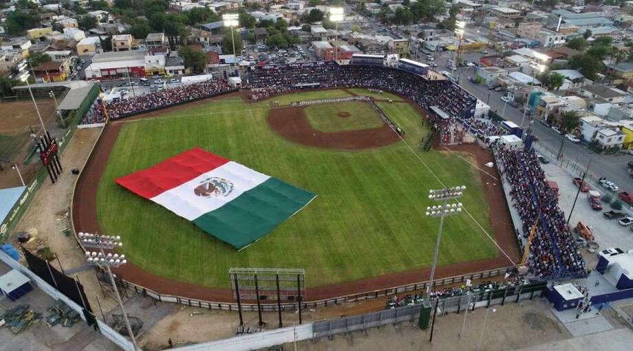 An aerial view of Parque La Junta in Nuevo Laredo is shown on opening day in 2019 when the Tecolotes Dos Laredos won 7-4 over Algodoneros Union Laguna. Photo: Courtesy / Tecolotes Dos Laredos