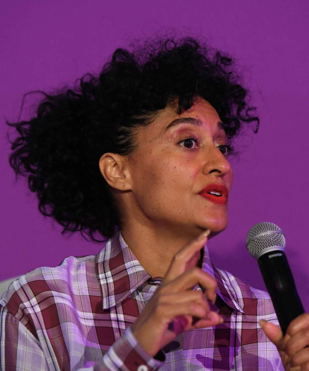 """Actress, producer and activist Tracee Ellis Ross delivers the keynote conversation """"Brave, Bold, You"""" during Fairfield County's Community Foundation Fund for Women & Girls annual luncheon at the Hyatt Regency in Old Greenwich, Conn. Thursday, April 4, 2019. Ross is known for her lead role on ABC's """"black-ish"""" and has won a Golden Globe along with several NAACP Image Awards for her work."""