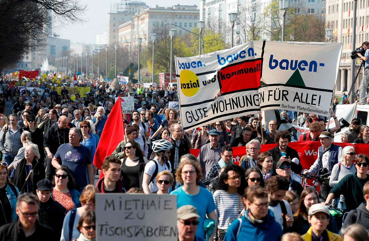 Thousands of demonstrators march through Berlin to protest gentrification and rising rents.