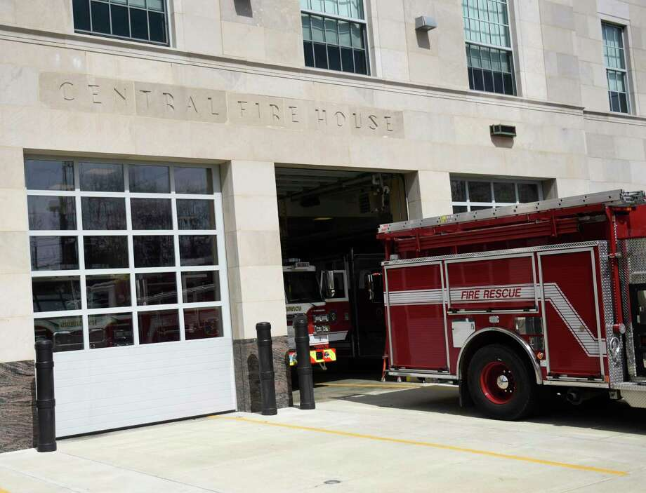 Fire trucks from the Greenwich Fire Department sit outside of the Public Safety Complex in Greenwich, Conn., photographed on Tuesday, April 2, 2019. Photo: Tyler Sizemore / Hearst Connecticut Media / Greenwich Time
