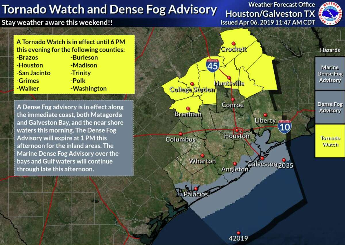 A tornado watch is in effect for a swath of 10 counties north of the Houston area, including Walker and Grimes, while showers and thunderstorms continue to move across the region.