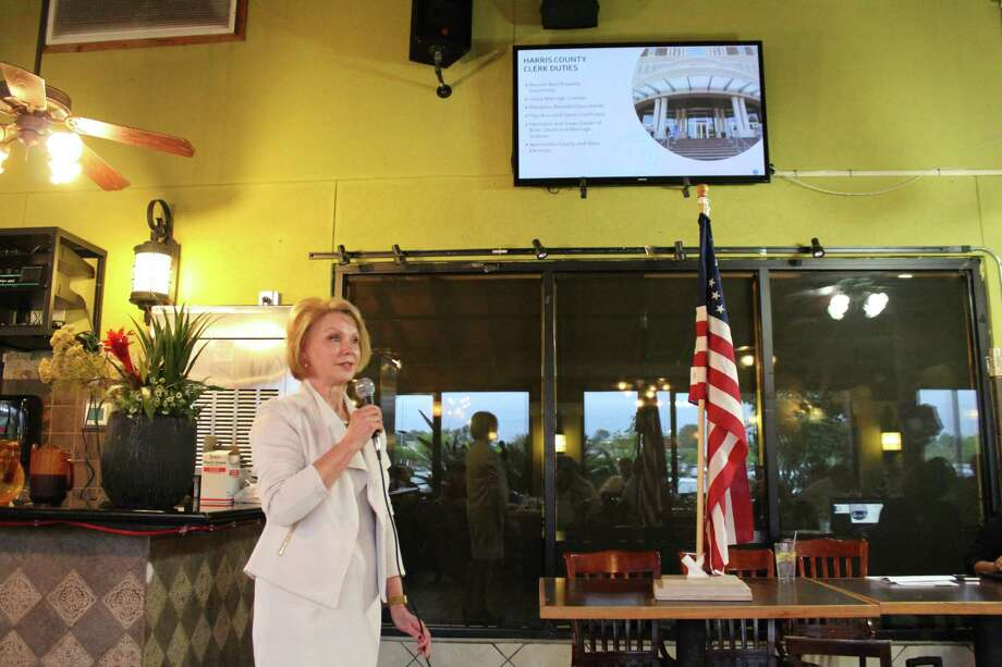 Harris County Clerk Diane Trautman spoke at the Kingwood Area Democrats meeting on April 3, 2019 to talk about recent changes made to the voting process in Harris County. Photo: Kaila Contreras