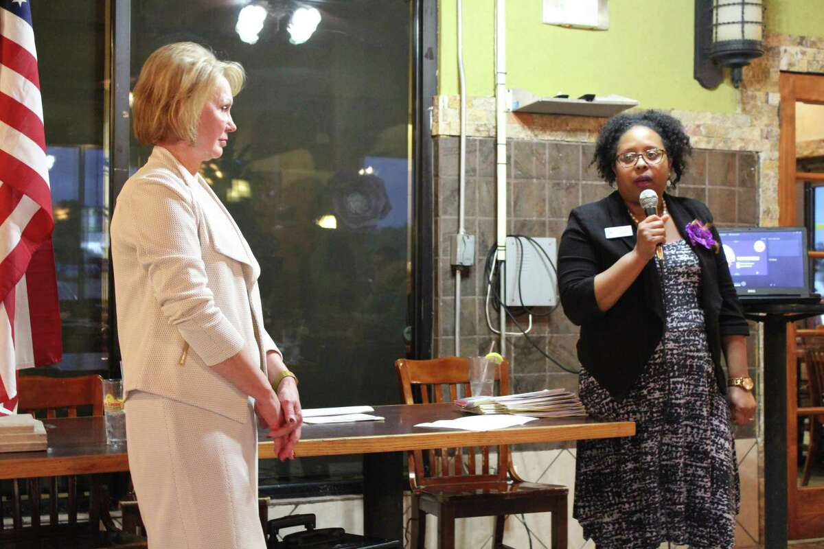 Harris County Clerk Diane Trautman and Teneshia Hudspeth, director of communications and voter outreach, speak at the Kingwood Area Democrats meeting on April 3, 2019 to talk about recent changes made to the voting process in Harris County.