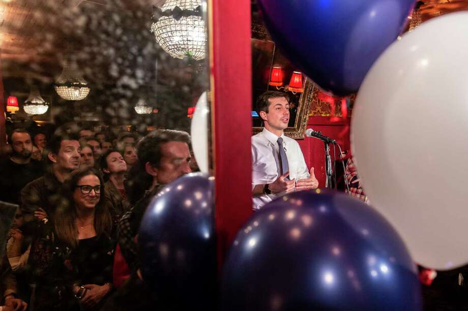 South Bend, Ind., Mayor Pete Buttigieg answers questions during a sold-out fundraising event at Bar Lubitsch in West Hollywood, Calif., last month. Photo: Photo For The Washington Post By Allison Zaucha / © Allison Zaucha