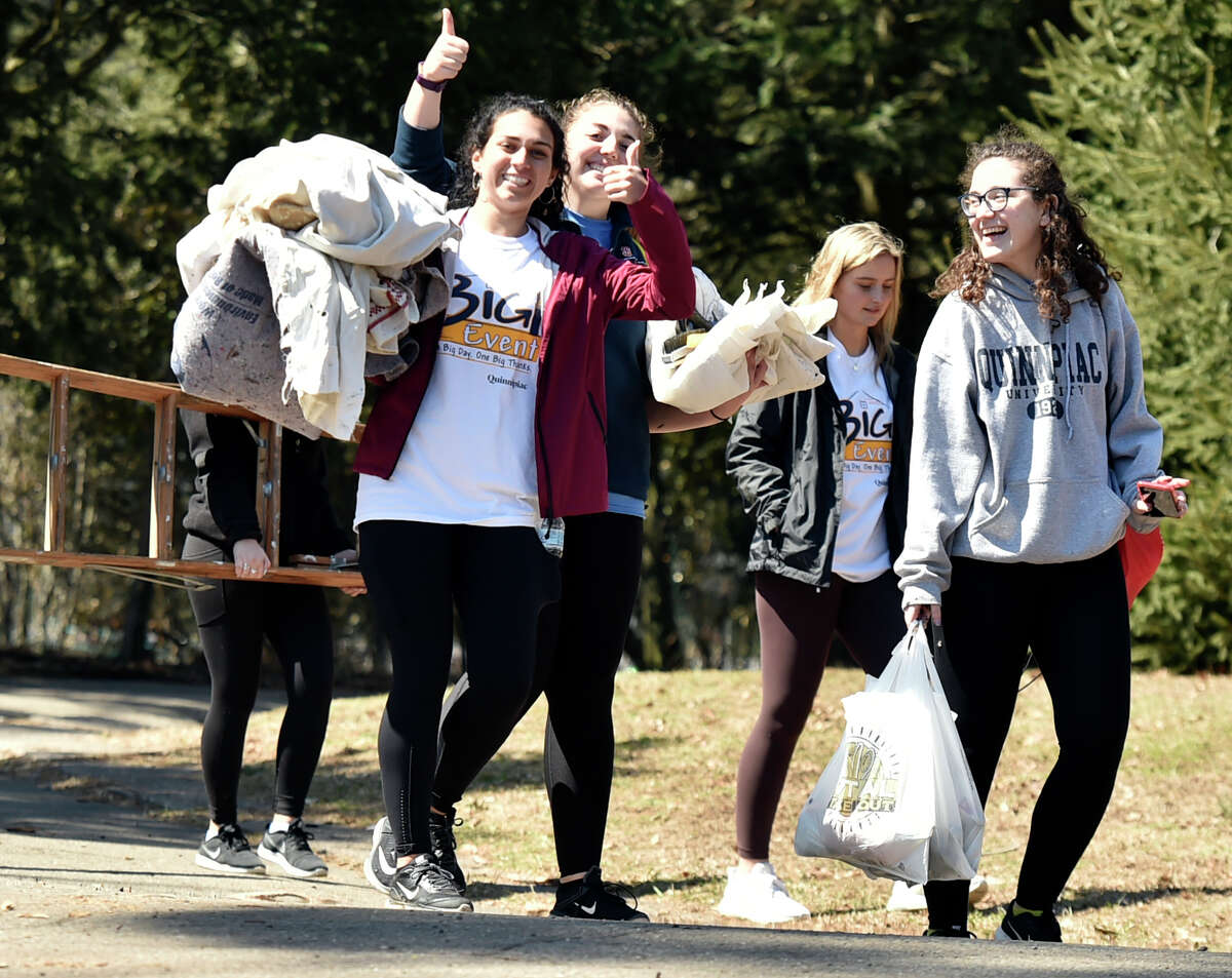 New Haven, Connecticut - Saturday, April 6, 2019: The Quinnipiac University students and staff that did spring cleanup work outdoors at Edgerton Park in New Haven, are among the approximately 1500 Quinnipiac University Big Event honors program students participated in the 10th annual Big Event cleanup at 75 locations in greater New Haven area.