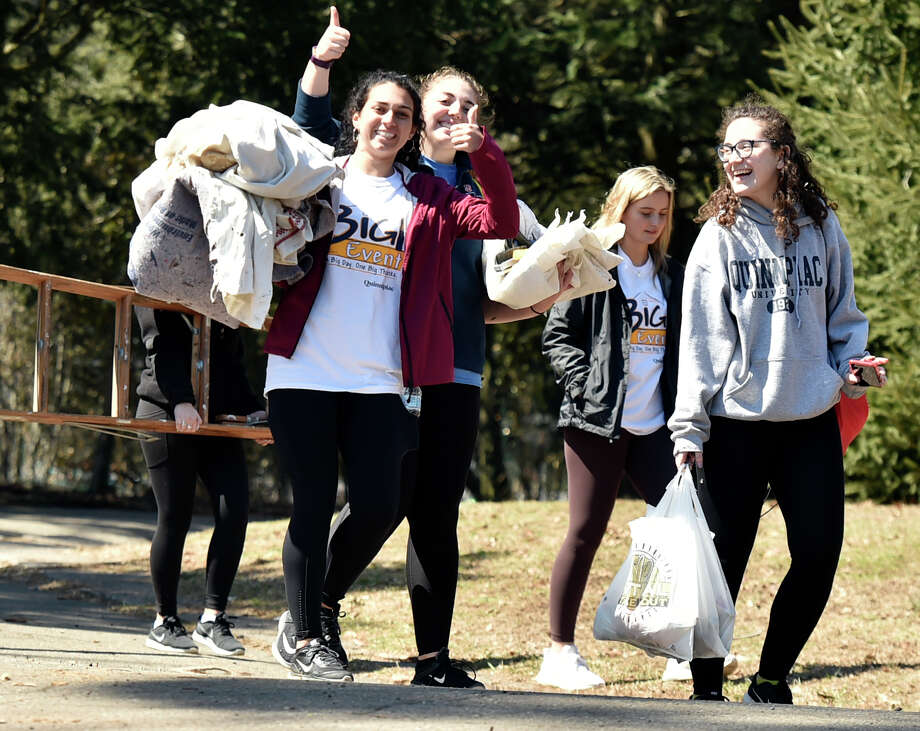 "New Haven,  Connecticut - Saturday, April 6, 2019: The Quinnipiac University students and staff that did spring cleanup work outdoors at Edgerton Park in New Haven, are among the approximately 1500 Quinnipiac University Big Event honors program students  participated in the 10th annual Big Event cleanup at 75 locations in greater New Haven area. ""Started 37 years ago at Texas A & M University, the Big Event has grown to be the largest, one-day, student-run service project in the nation,"" according to a Quinnipiac University website. The goal of the Big Event is to give QU students the opportunity to provide community service to residents in the surrounding Greater New Haven community. ""Quinnipiac's Big Event was founded in 2010 by the Vice President of Public Relations for the QU Student Government Association, Jen Walts. This past year (2018) over 1,600 students completed over 4,500 hours of community service."" Photo: Peter Hvizdak, Hearst Connecticut Media / New Haven Register"