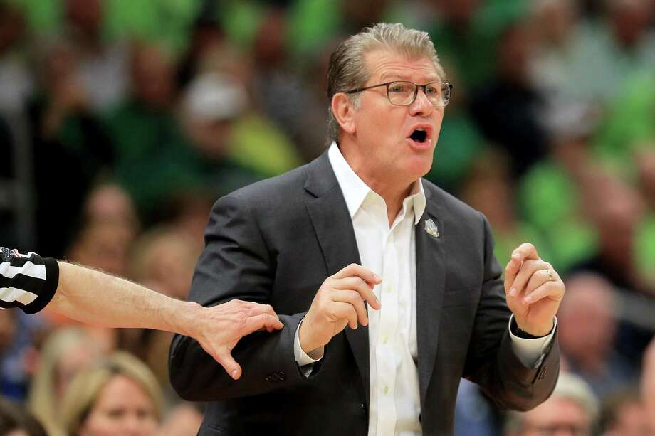 UConn coach Geno Auriemma reacts during the first quarter Friday's loss to Notre Dame in Tampa, Fla. Photo: Mike Ehrmann / Getty Images / 2019 Getty Images
