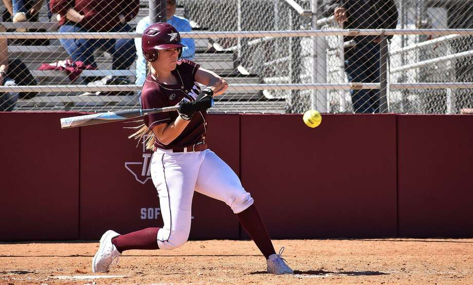Senior Lindsey Smith hit an extra-inning walk-off homer to lift TAMIU to a 3-2 win over Rogers State in an elimination game Thursday in the Heartland Conference tournament. The Dustdevils lost the opener 6-5 to Lubbock Christian. Photo: Courtesy Of Matthew Balderas /TAMIU Athletics, File