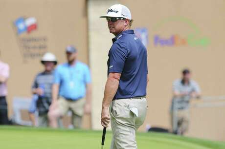 2016 champion Charley Hoffman walks up the 18th green during the third round of the 2019 Valero Texas Open at TPC San Antonio on Saturday, Apr. 6, 2019. (Kin Man Hui/San Antonio Express-News)