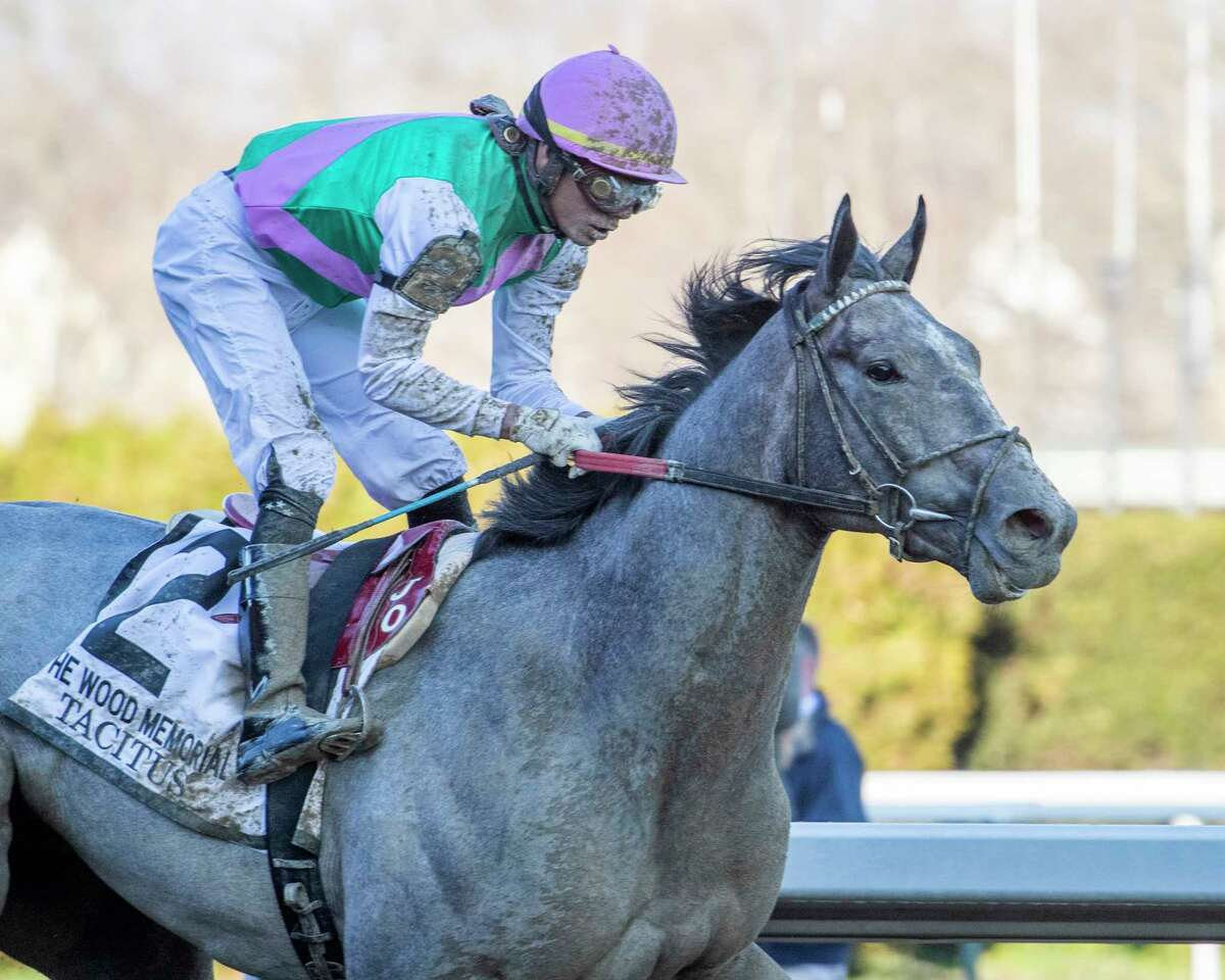 Tacitus and jockey Jose Ortiz won the 95th running of the Wood Memorial at Aqueduct Racetrack last year. With racing suspended at Aqueduct now, it's unclear if the Wood Memorial will be run on April 4 as scheduled. (Skip Dickstein / Special to the Times Union)