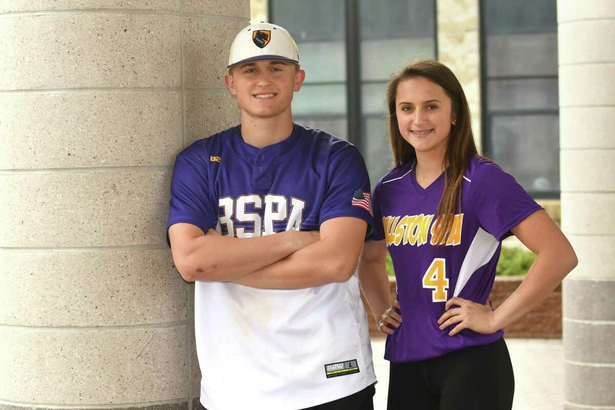 Luke Gold and his sister Ana, the star shortstops for the baseball and softball teams on Friday, April 27, 2018 in Ballston Spa, N.Y. (Lori Van Buren/Times Union)
