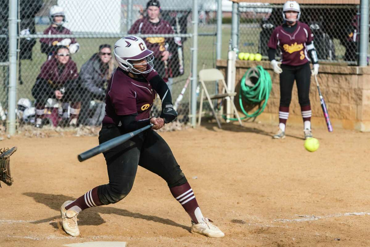 Colonie Central's Myaisha Kelly hits the ball during the softball game against Ballston Spa at Colonie Monday, April 9th, 2018. Photo By Eric Jenks