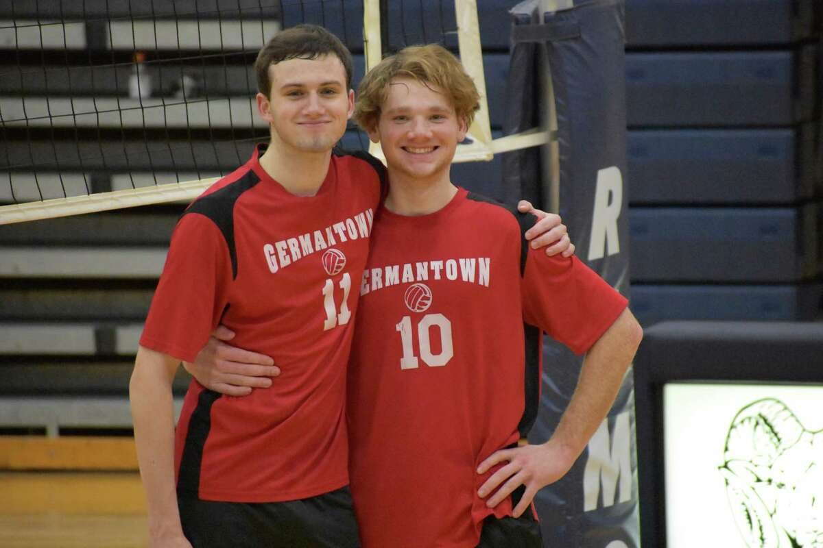 Jeremy Cosenza, right, and Riley Griffin of the Germantown volleyball team. (Courtesy of Germantown High School)