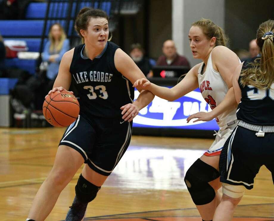 Lake George's Graceann Bennett drives to the basket during a Class C girls' quarterfinal against Maple Hill on Wednesday, Feb. 20, 2019 in Schaghticoke, N.Y. (Lori Van Buren/Times Union) Photo: Lori Van Buren / 40046230A