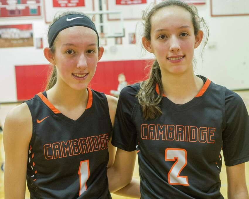 Cambridge basketball's Lilly and Sophie Phillips. (Jim Franco / Special to the Times Union)