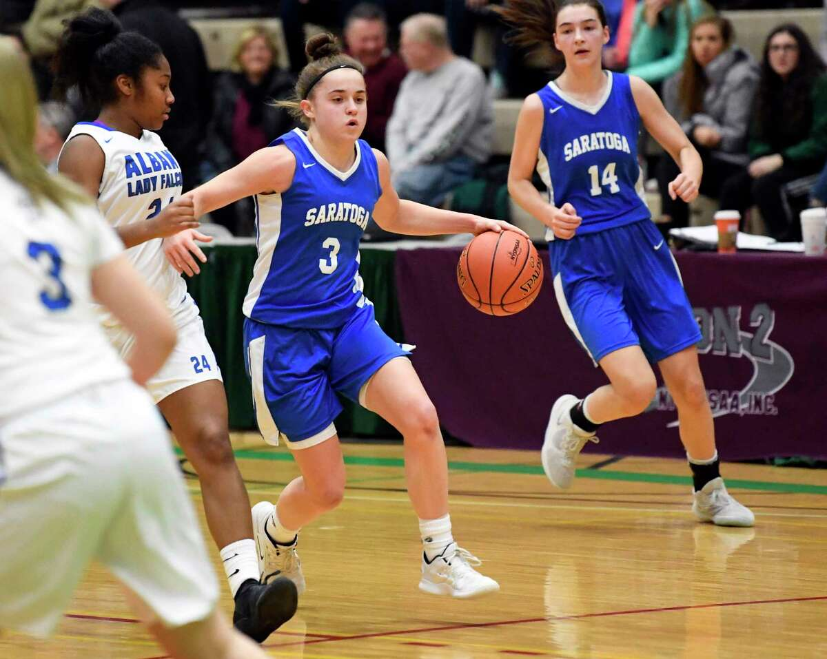 Saratoga's Dolly Cairns (3) moves the ball against Albany's during a Section II Class AA Girls' semifinal high school basketball game Thursday, Feb. 28, 2019, in Troy, N.Y. (Hans Pennink / Special to the Times Union)