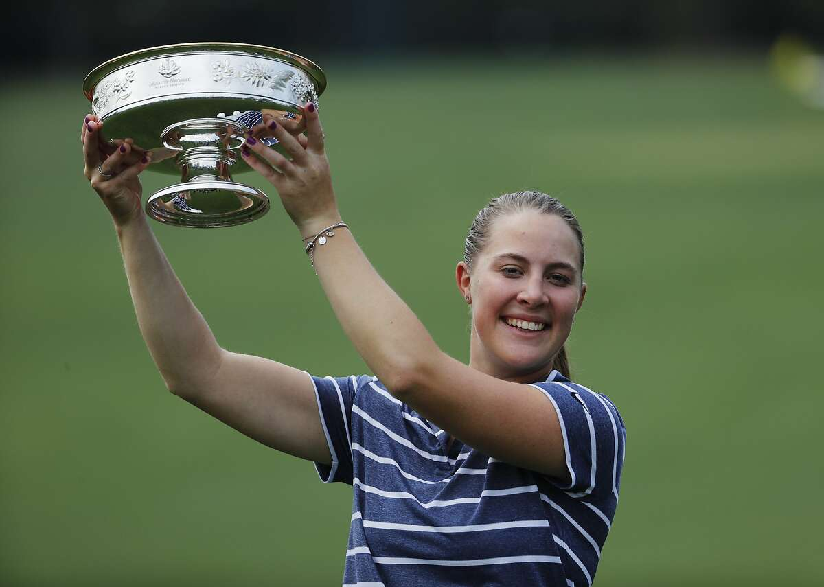 Jennifer Kupcho poses with the trophy after winning the Augusta National Women's Amateur golf tournament in Augusta, Ga., Saturday, April 6, 2019. (AP Photo/David Goldman)