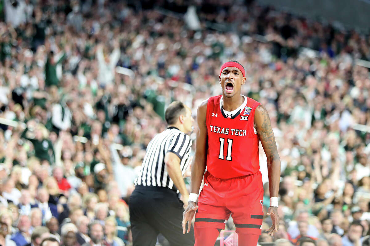 Texas Tech's Tariq Owens (11) reacts after scoring against Michigan State during the NCAA Division I Men's Basketball semifinal April 6, 2019, in Minneapolis, Minnesota. James Durbin / Reporter-Telegram