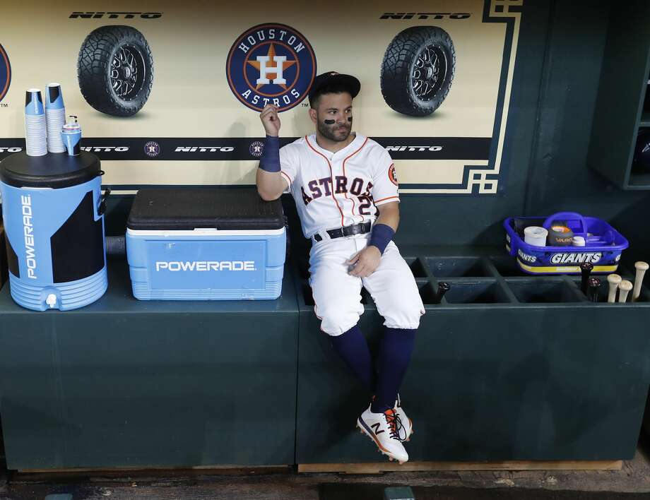 PHOTOS: 2019 Astros game-by-game  Houston Astros second baseman Jose Altuve (27) sits in the dugout before the start of an MLB at Minute Maid Park, Saturday, April 6, 2019, in Houston. >>>See how the Astros have fared so far this season ...  Photo: Karen Warren/Staff Photographer