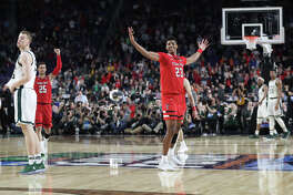 Texas Tech's Jarrett Culver (23) celebrates a win against Michigan State during the NCAA Division I Men's Basketball semifinal April 6, 2019, in Minneapolis, Minnesota. James Durbin / Reporter-Telegram