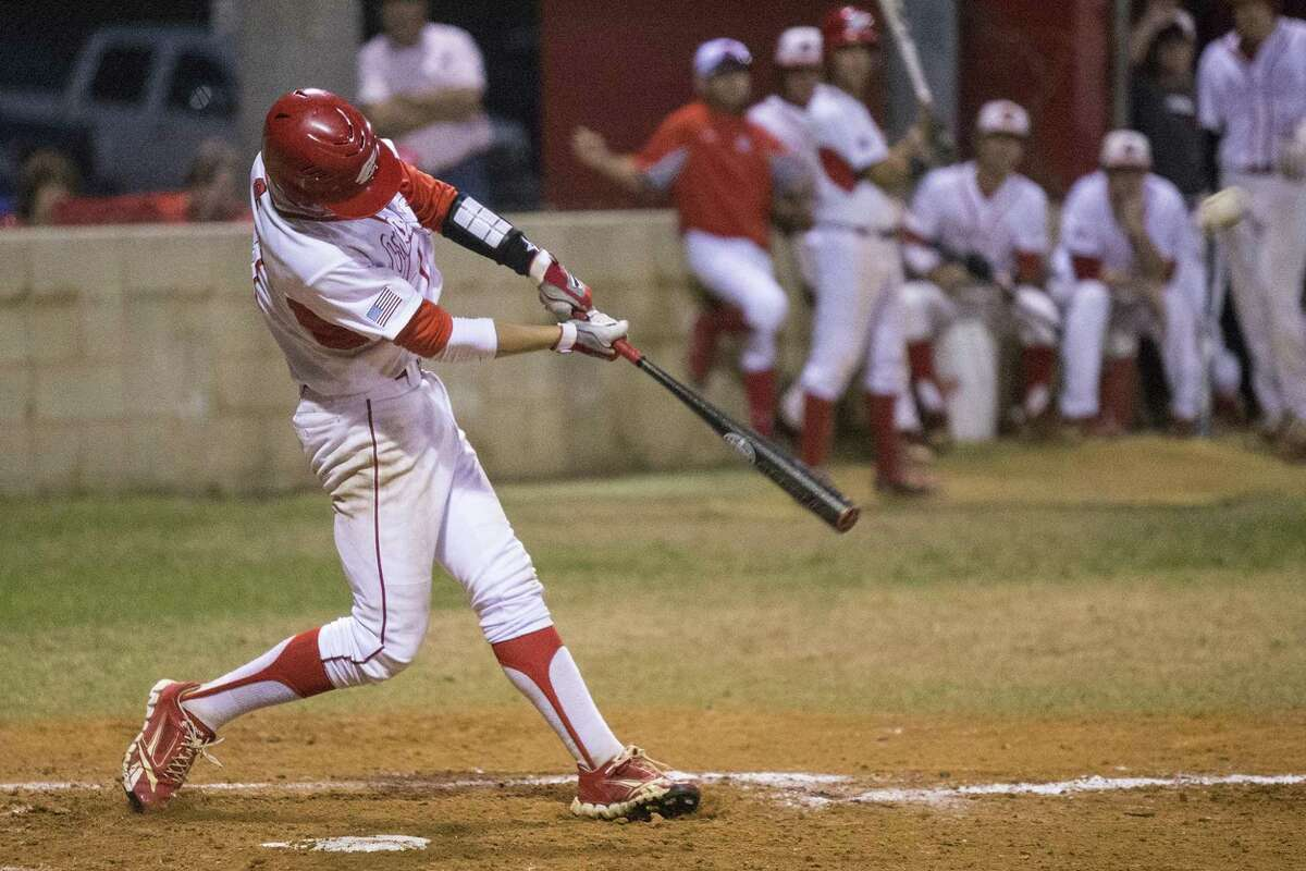 Crosby's Hunter Hearn hits during Crosby's playoff matchup against Brenham on May 8, 2014, at Crosby High School.