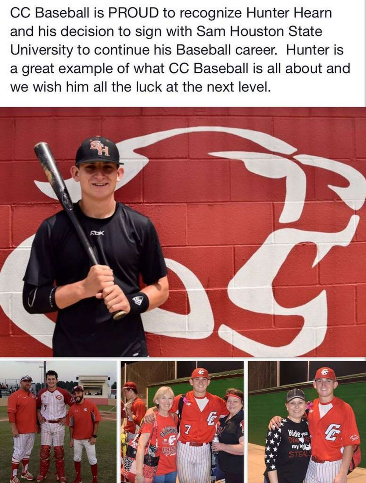 Crosby class of 2015 graduate Hunter Hearn has excelled on the Sam Houston State University Bearkats baseball team