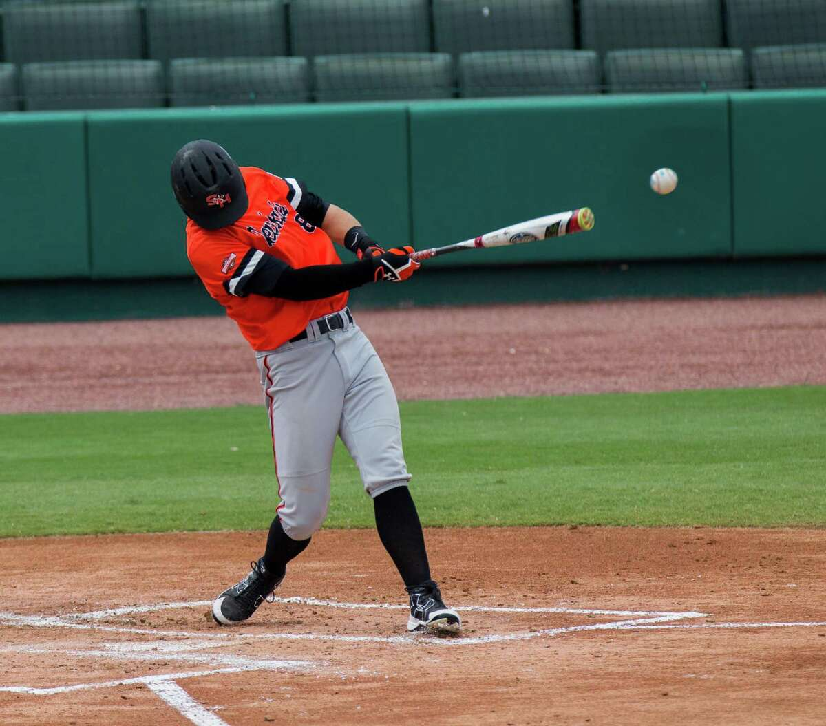 Sam Houston St. outfielder Hunter Hearn (8) hits for a single in the second inning of a baseball game during the Southland Conference Tournament between University of New Orleans vs Sam Houston State University at Constellation Field, Friday, May 26, 2017, in Sugarland. (Juan DeLeon/for the Houston Chronicle )