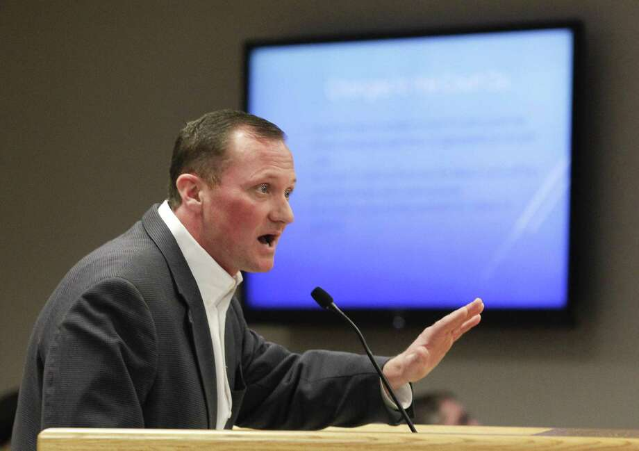 Montgomery County Precinct 3 Justice of the Peace Matt Beasley speaks during a Montgomery County Commissioners Court meeting at the Alan B. Sadler Commissioners Court building, Tuesday, Feb. 26, 2019, in Conroe. Photo: Jason Fochtman, Houston Chronicle / Staff Photographer / © 2019 Houston Chronicle