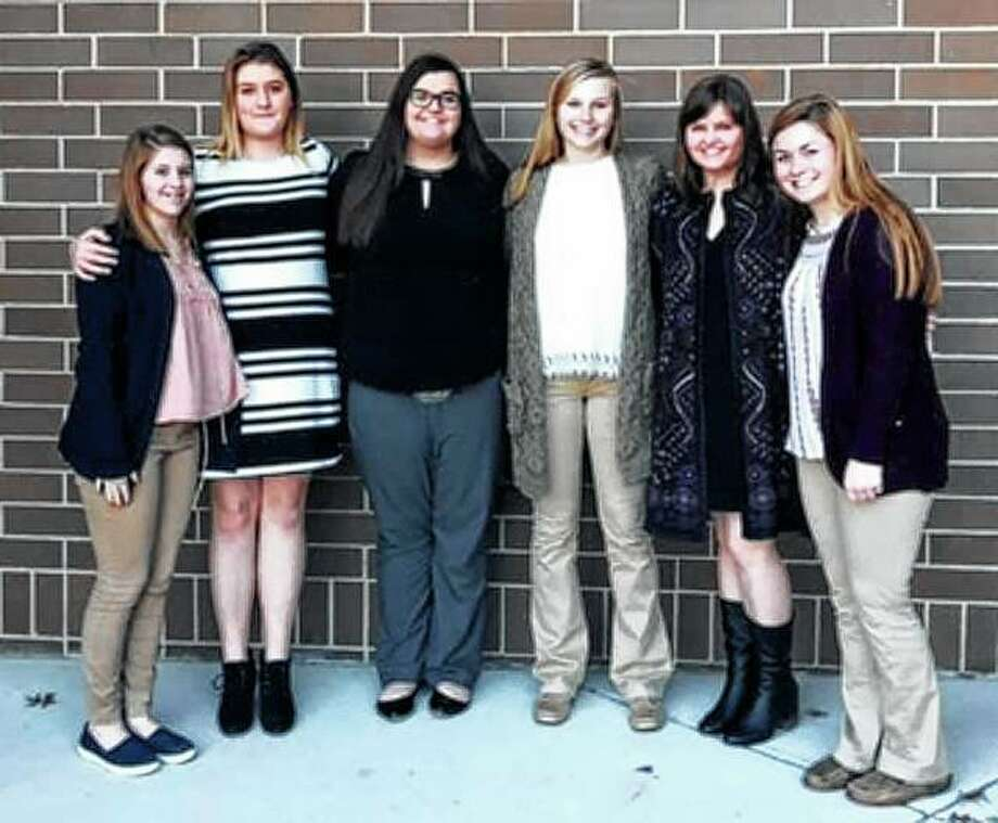 Rebecca Edwards (from left), Ashley Fry, Allison Wheeler, Katie White, Anne Becker and Skylar Bartz of the Jacksonville FFA recently attended the 10th annual Women Changing the Face of Agriculture Conference. Participants interacted with career professionals to learn and network. The conference was held at Richland Community College in Decatur. Photo: Photo Provided