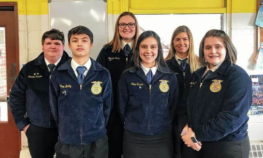 Members of the Bluffs FFA chapter competed March 20 in Parli Pro. The varsity team took home second place. Morgan Hoots earned fifth place, chair. Madison Hopkins finished in fourth place, secretary. Triston Preston finished in third place, floor member; and Alyssa Bartels finished in fourth place, floor member. Those attending included Shia Hawkins (front row, from left), Kayde Gregory, Madison Hopkins, Triston Preston (back row, from left), Morgan Hoots and Alyssa Bartels. Photo: Photo Provided
