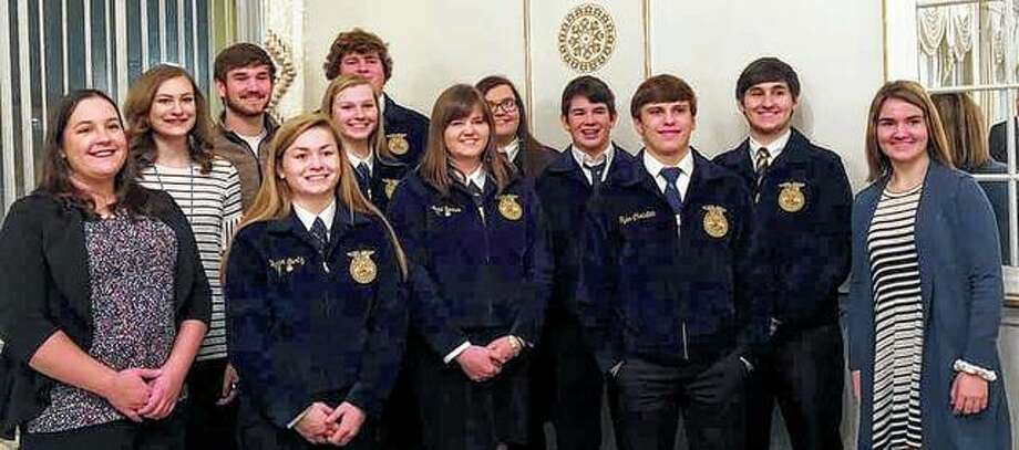 Jacksonville FFA members recently attended the 40th annual Chamber of Commerce Agri-Industry Banquet at Hamilton's. Those attending included Jacksonville High School FFA adviser Kelsey Rutherfor (front row, from left), Skylar Bartz, Anne Becker, Tyler Christian and Meghan Hadden; Annie Jackson (second row, from left), Katie White, Allison Wheeler, Ryan Hutchison and Blake Hadden; and Lukas Hadden (back row, from left) and Austin Dufelmeier. Photo: Photo Provided