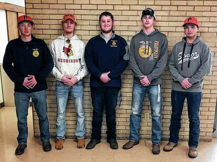Franklin FFA members recently attended the Regional Envirothon competition in Pittsfield. The Franklin FFA chapter placed first overall and now will compete May 1-2 at the state competition in Monticello. Those participating include Luke Bergschneider (from left), Ethan Hansell, Kyle Colwell, Jackson Smith and Jared Miller. Photo: Photo Provided