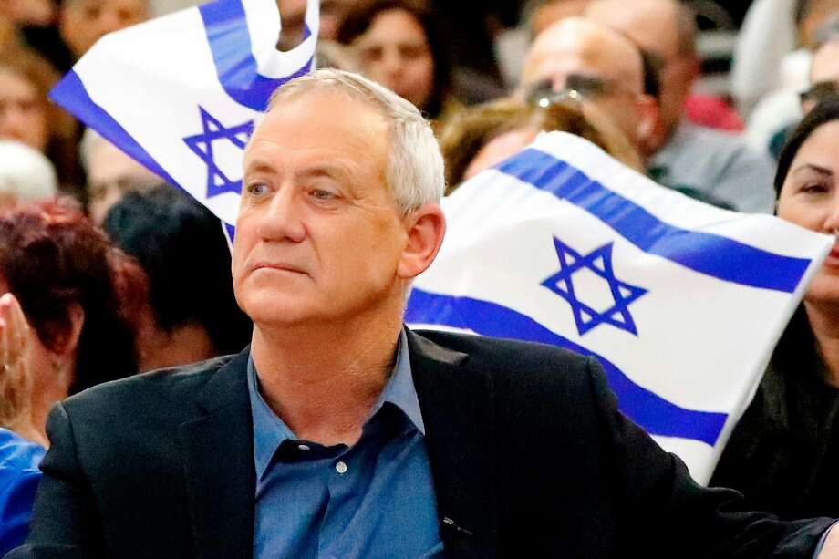 Retired Israeli general Benny Gantz, one of the leaders of the Blue and White (Kahol Lavan) political alliance, attends a campaign event in the Israeli southern city of Ashkelon on April 3, 2019, ahead of the parliamentary polls scheduled for April 9. (Photo by JACK GUEZ / AFP)JACK GUEZ/AFP/Getty Images Photo: JACK GUEZ;Jack Guez / AFP / Getty Images