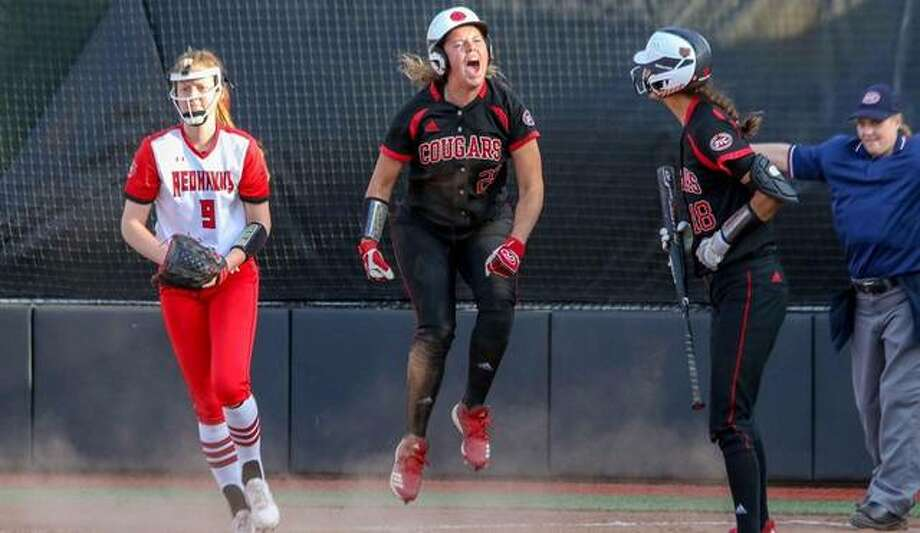 Reagan Curtis celebrates after scoring on a wild pitch in SIUE's win over SEMO on Saturday in Edwardsville. Photo: SIUE