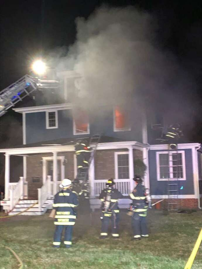 One person was evaluated Saturday night at the hospital after a house fire in Hamden. Photo: / Contributed Photo