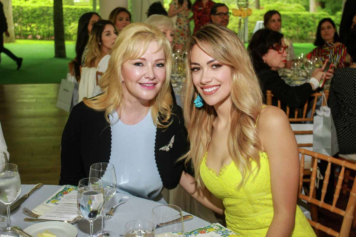 Whitney Crane, left, and Daniella Rodriguez at MFAH's Bayou Bend fashion show and luncheon.