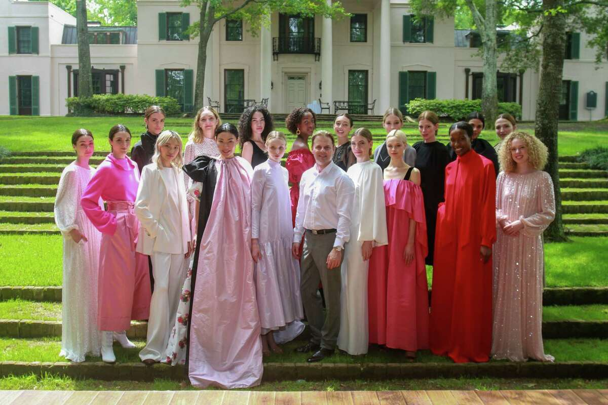 Designer Adam Lippes and models after runway show at MFAH's Bayou Bend fashion show and luncheon.