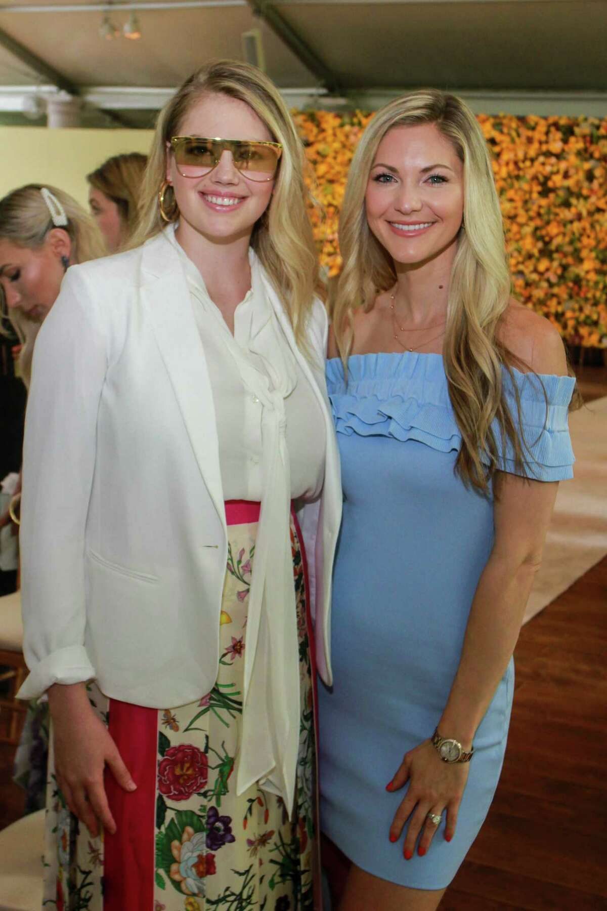 Kate Upton, left, and Amy Cole at MFAH's Bayou Bend fashion show and luncheon.