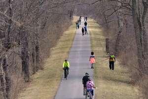 People make their way along the bike path on Sunday, April 7, 2019, in Niskayuna, N.Y.   (Paul Buckowski/Times Union)