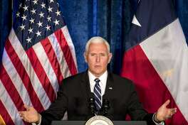Vice President Mike Pence speaks on the crisis in Venezuela at Rice University's Baker Institute for Public Policy on Friday, April 5, 2019, in Houston.