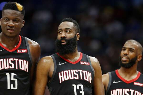 54ed8253f284 1of83PHOTOS  Rockets game-by-game Houston Rockets center Clint Capela (15)  Houston Rockets guard James Harden (13) and Houston Rockets guard Chris  Paul (3) ...