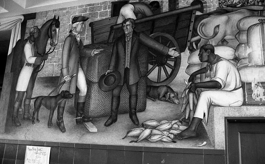 The mural, shown on Oct. 22, 1968, has inspired debate for decades. Photo: Greg Peterson / The Chronicle 1968 / ONLINE_YES