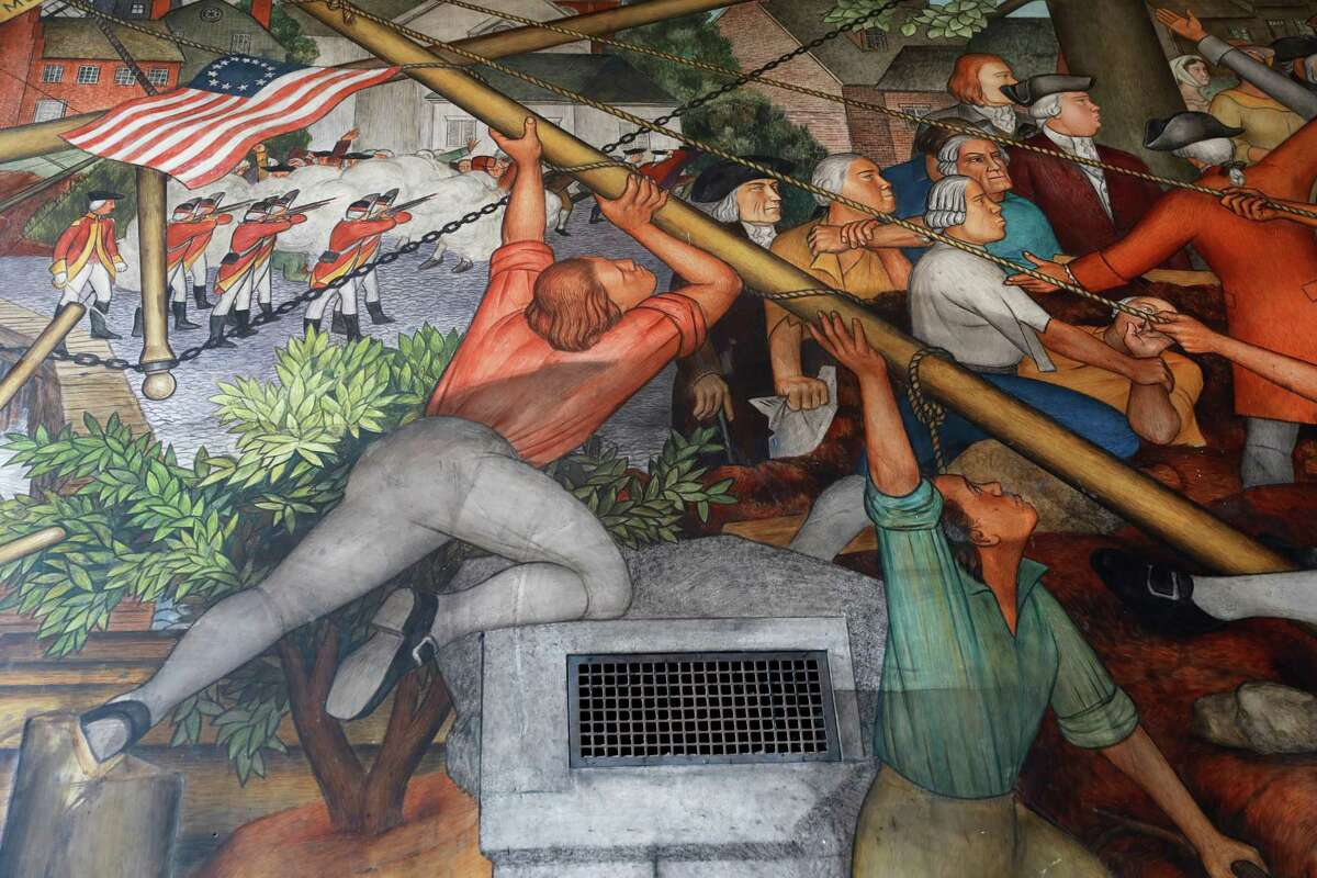 The mural's images have inspired debatefor decades.