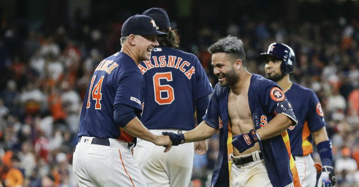 PHOTOS: Each Astros player's contract situation heading into the 2020 season Jose Altuve had his shirt ripped off after his walk forced in the winning run against the Oakland Athletics on April 7, 2019 at Minute Maid Park. Browse through the photos above for a look at each Astros player's contract situation heading into the 2020 season ...
