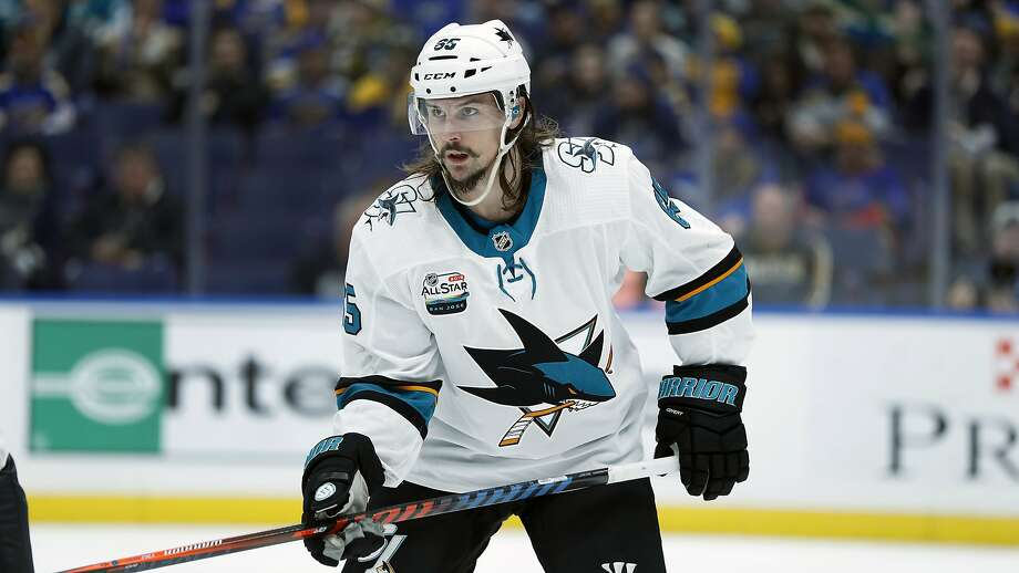 FILE - In this Nov. 9, 2018, file photo, San Jose Sharks' Erik Karlsson, of Sweden, is seen during the second period of an NHL hockey game against the St. Louis Blues in St. Louis. Karlsson, Artemi Panarin and Sergei Bobrovsky are a few of the potential free agents in the NHL with a lot at stake down the stretch of the regular season and in the postseason. (AP Photo/Jeff Roberson, File) Photo: Jeff Roberson / Associated Press 2018
