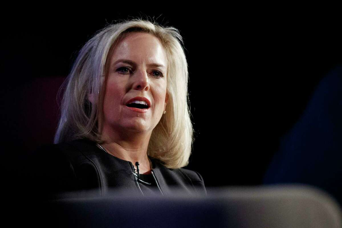 FILE - In this Monday, March 18, 2019, file photo, Homeland Security Secretary Kirstjen Nielsen speaks at George Washington University's Jack Morton Auditorium in Washington. In a tweet on Sunday, April 7, 2019, President Donald Trump said he's accepted Nielsen's resignation. (AP Photo/Carolyn Kaster, File)