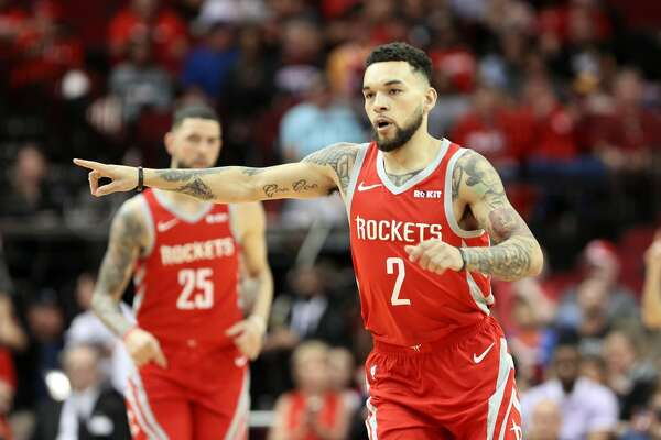 Houston Rockets guard Chris Chiozza (2) points to his teammate during the second half of NBA game action against Phoenix Suns at the Toyota Center on Sunday, April 7, 2019. Rockets won the game 149-113.