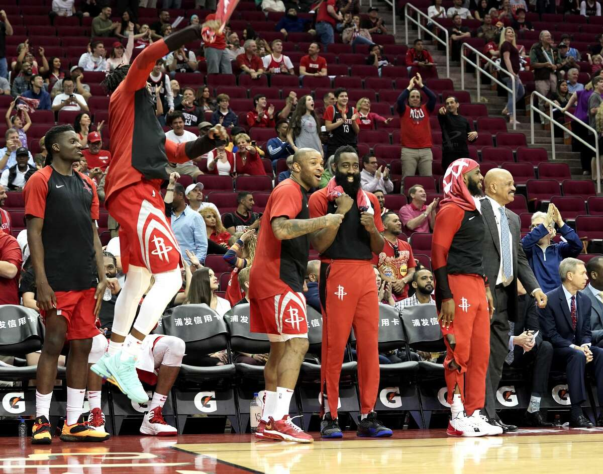 Houston Rockets starters celebrate when their team broke an NBA record for three-point shots, making 27 of them against Phoenix Suns at the Toyota Center on Sunday, April 7, 2019. Rockets won the game 149-113.