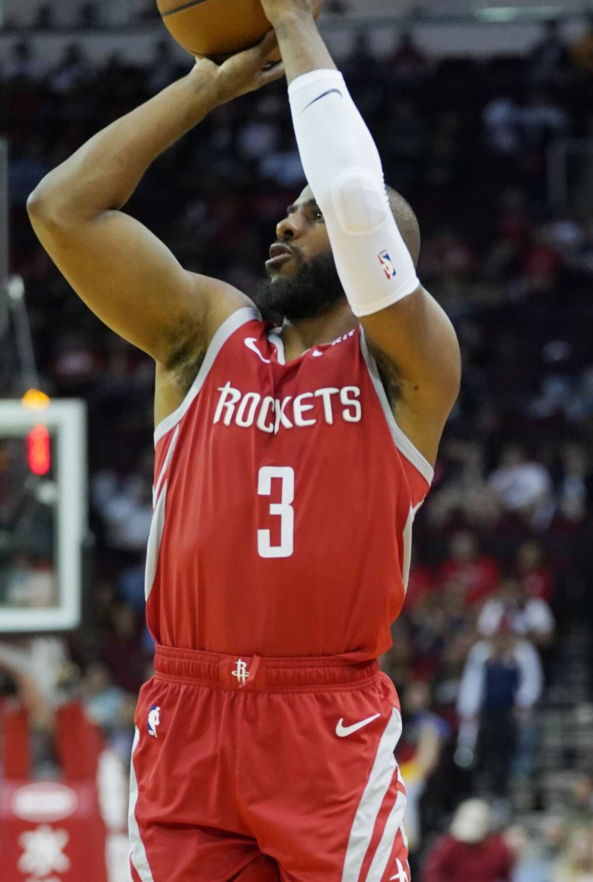 Houston Rockets guard Chris Paul (3) puts up a three-point shot against Phoenix Suns at the Toyota Center on Sunday, April 7, 2019. Paul had six points in the Rockets 149-113 win over Phoenix Suns.